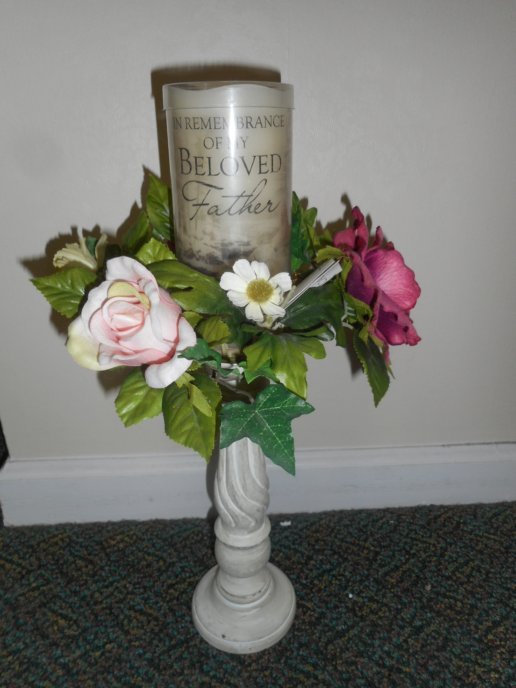 Floral arrangements wreaths plant gardens dish gardens this table piece candle holder with the beloved father inscription can be sent to anyone at a funeral home who has last their father izmirmasajfo